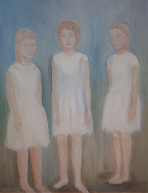 Tre vitkladda flickor